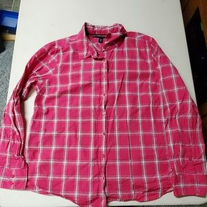 Tommy Hilfiger pink and white plaid button up XXL